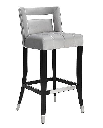 TOV Furniture Hart Velvet Stool, Counter Height, Gray