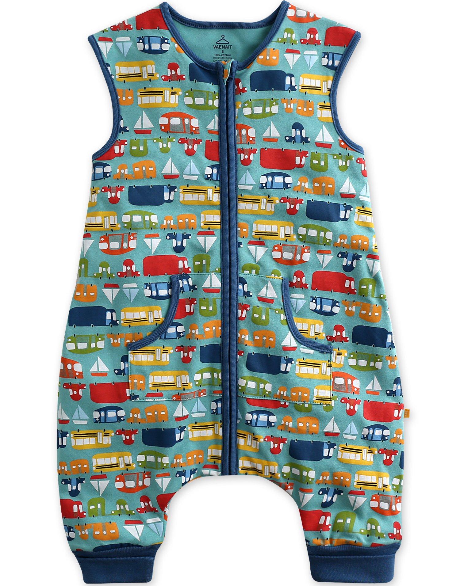 Vaenait Baby Kids Boys Double-Layered Cotton Wearable Blanket Sleeper Sleep Travel M