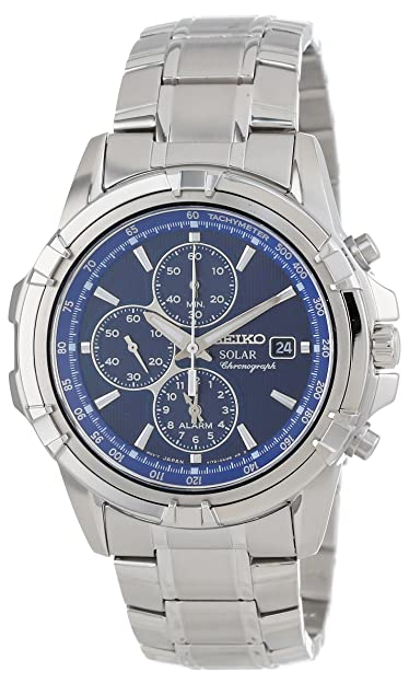 Amazon Com Seiko Men S Ssc141 Stainless Steel Solar Watch With Blue