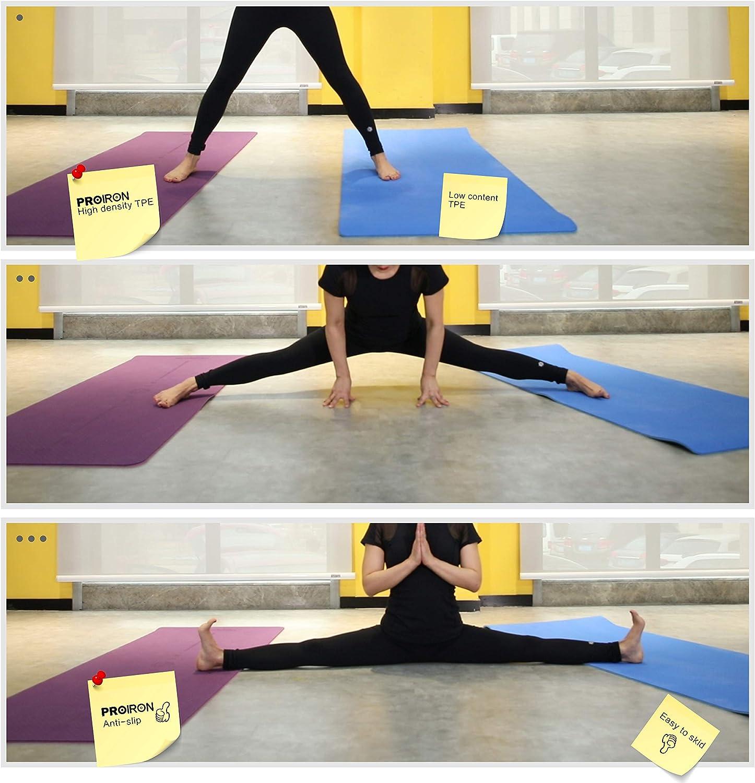 Tapis de yoga Heathyoga Pro en daim TPE naturel 80 cm de large Antid/érapant et confortable