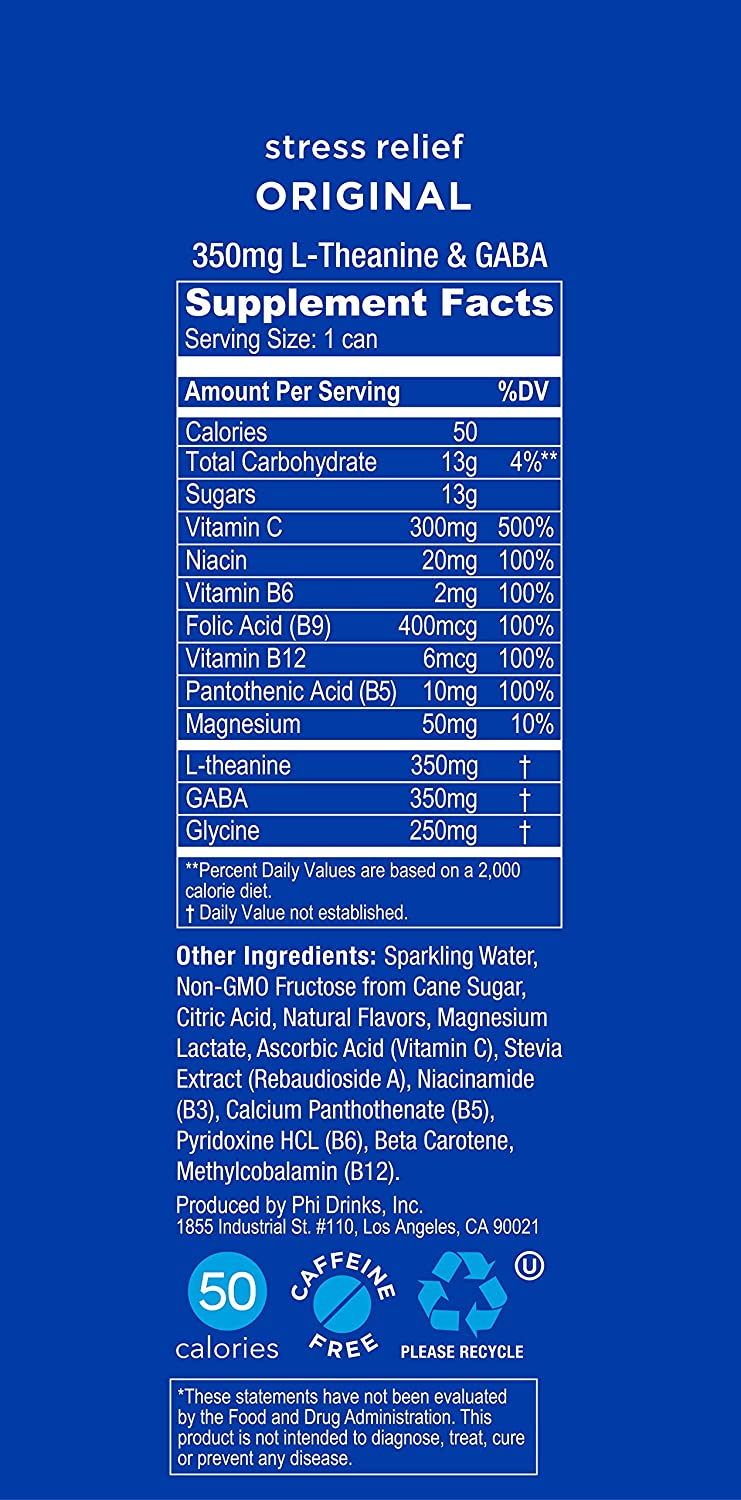 Zenify Original All Natural Sparkling Calming Stress Relief Beverage,  Formula with L-Theanine, GABA,