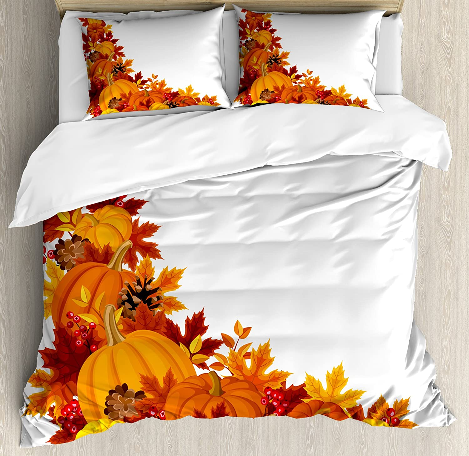 Lunarable Pumpkin Duvet Cover Set, Autumn Leaves and Fruits on Fall Season Arrangement Pine Cone Cranberries, Decorative 3 Piece Bedding Set with 2 Pillow Shams, Queen Size, Orange Yellow