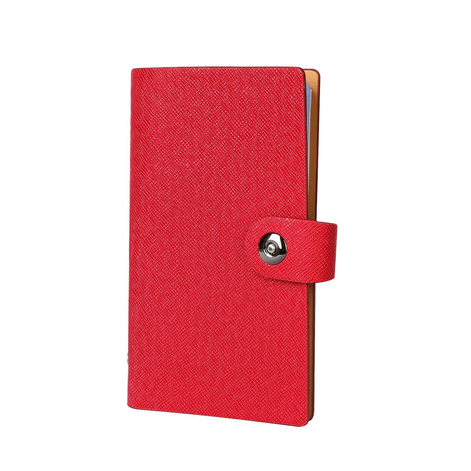 Business Card Holder Album Name Card Book Credit Card Organiser for 300 Cards with Magnet Clasp Leather Cover (Red) Paor