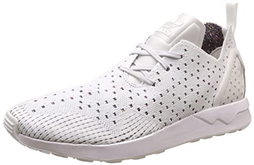 0a6db6094 adidas Mens Originals Sneakers ZX Flux Adv Asym PK Prime Knit Shoes -White-7.5