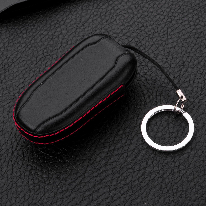 Tesla Model X Brown Leather Key Fob Case For Men Women Genuine Leather Key Fob Cover For Tesla Model X Key Car Remote Key Pouch Bag With Key Ring Key Chain Keychain Holder M.JVisun
