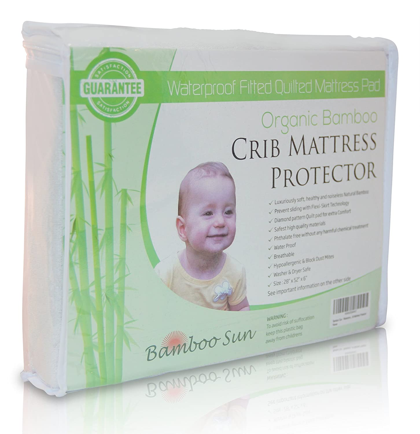 Bamboo Sun - Waterproof Fitted Quilted Mattress Pad - Organic Bamboo Crib Mattress Protector