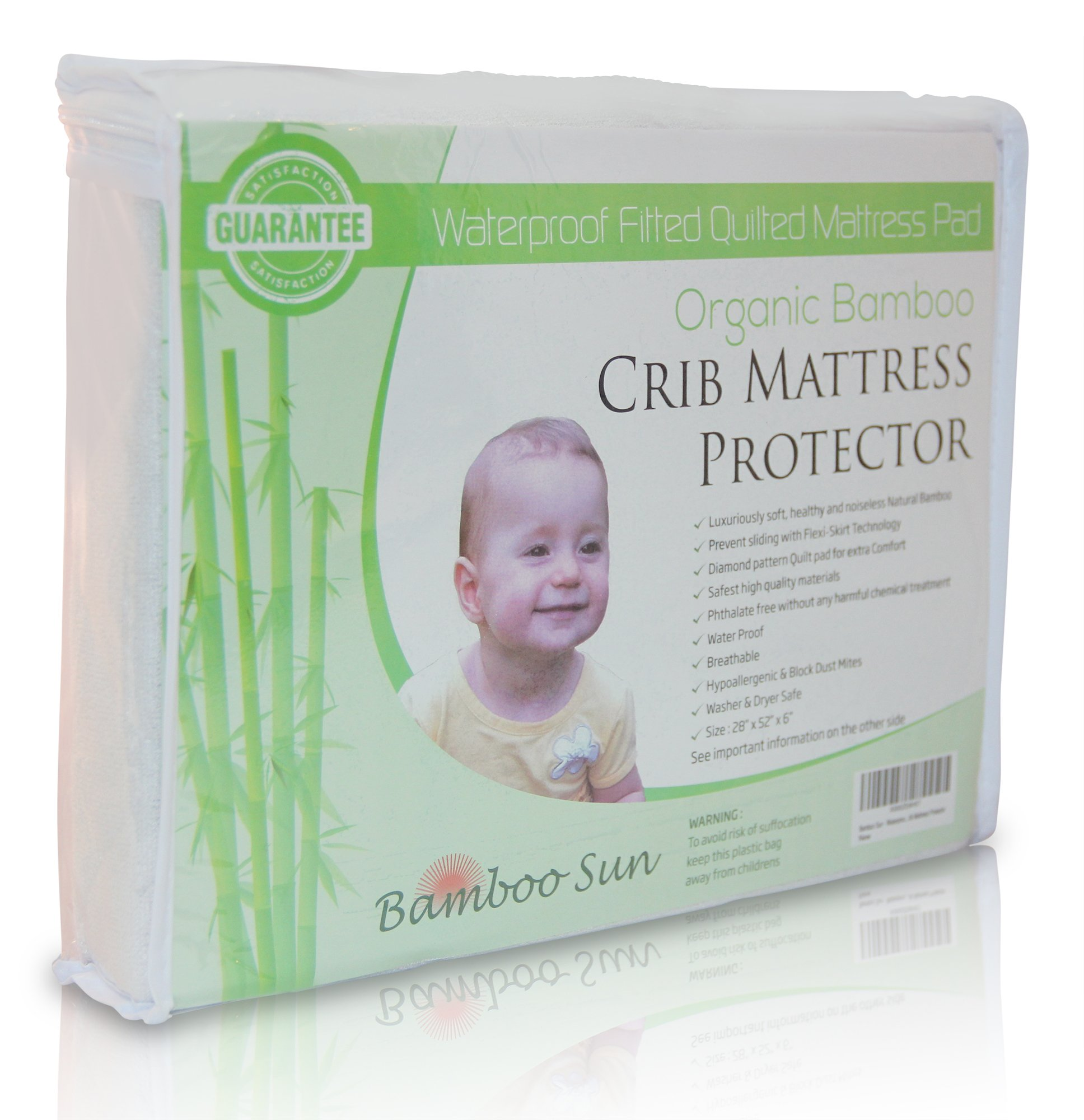 New, Improved and High Quality Organic Bamboo Crib Mattress Protector - Waterproof Fitted Quilted Mattress Pad (White)