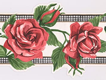 Roll 15 ft Painted Bloomed Rouge Pink Roses on Vine Scalloped Wall Border Retro Design Prepasted Wallpaper Border x 9 in.