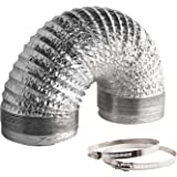 VIVOSUN 25 Feet 6 Inch Non-Insulated Flex Air Aluminum Ducting for Ventilation w/ Two 6 Inch Stainless Steel Clamps