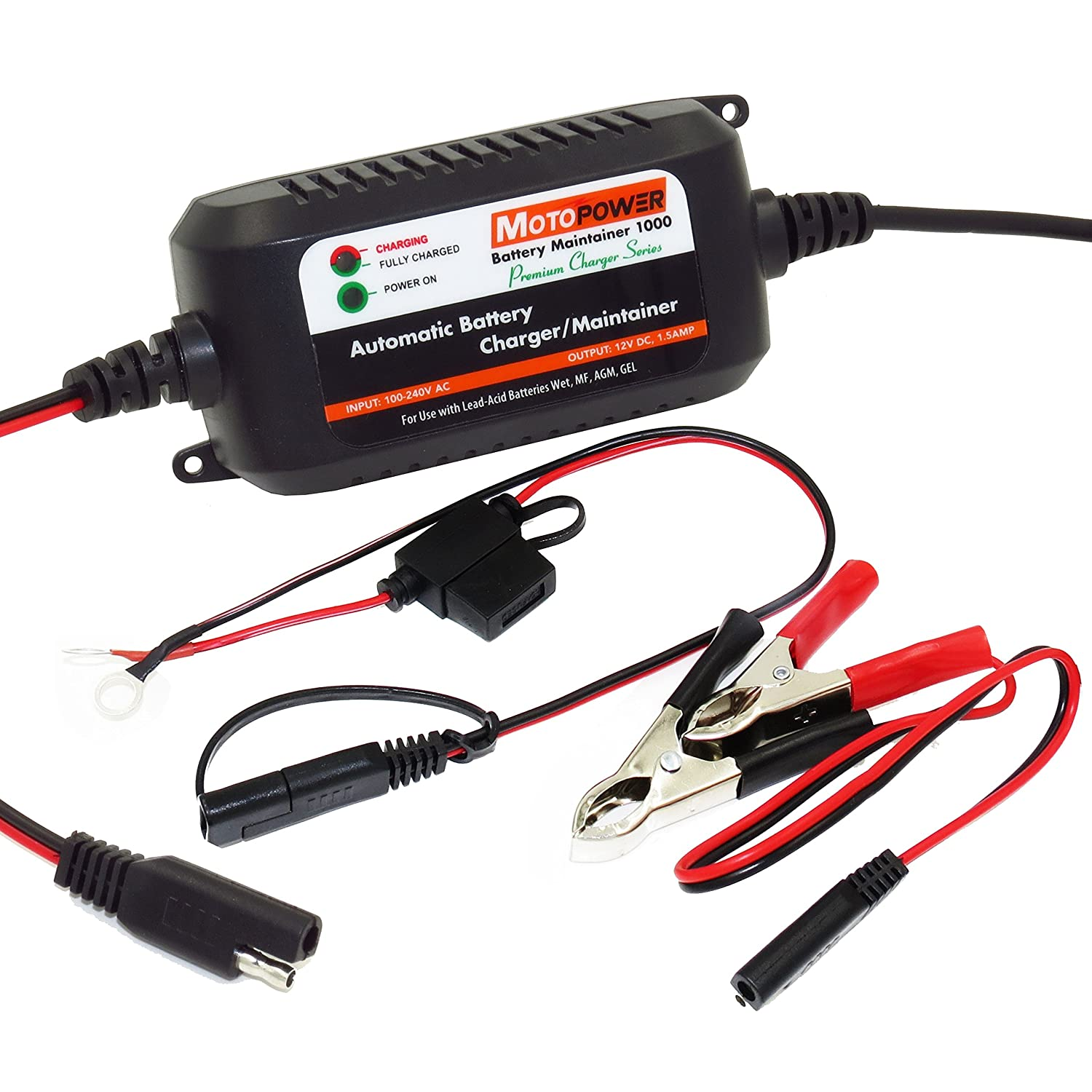 Motopower Mp00206a 12v 15amp Fully Automatic Battery Powered Lead Acid Charger With Indicator Maintainer For Cars Motorcycles Atvs Rvs Powersports Boat And More