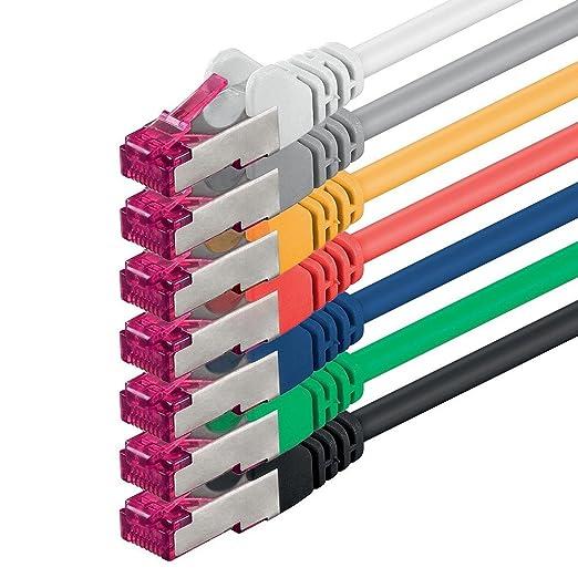 4 opinioni per 0,25m- 7 colori 7 pezzi- Rete Cavi Cat6a | S-FTP | CAT 6a | doppia schermatura-