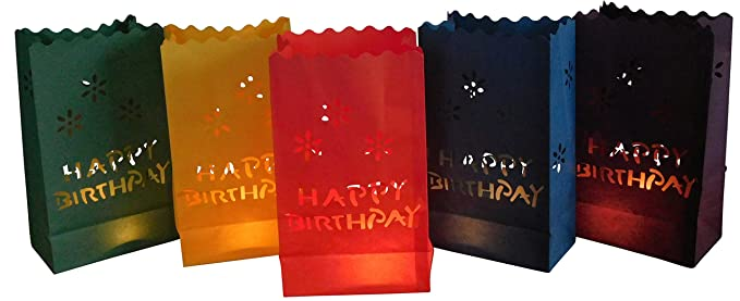 10 pcs bolsas de papel, bolsas de luces Happy Birthday ...