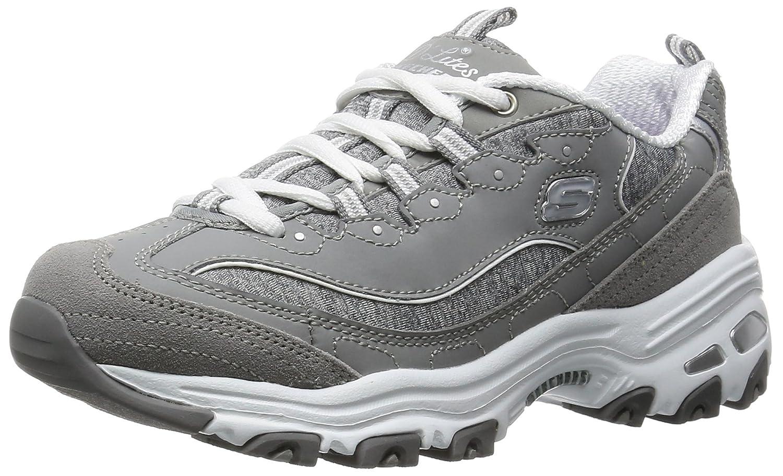 Grey White Skechers Sport Women's D'Lites Looking Glass Fashion Sneaker