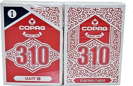 2 DECKS COPAG 310  POKER CARDS PAPER STANDARD INDEX 1 BLUE 1 RED NEW
