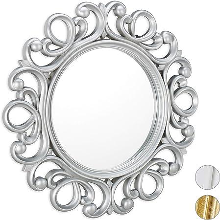 Imagen deRelaxdays, Plata Espejo Redondo de Pared, Decoración de Pasillo o salón, con Marco, ∅ 50 cm, PP, Vidrio, cartón, 50 x 50 x 3 cm, 10025533_55
