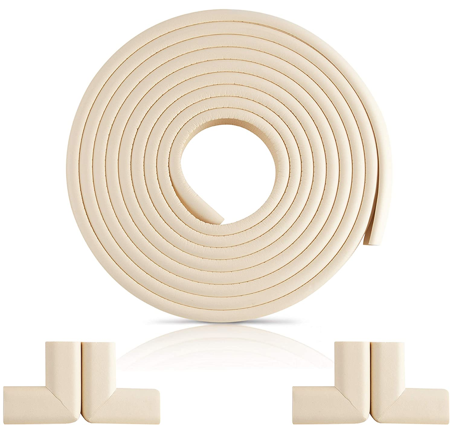 Furniture Edge and Corner Guards | 16.2ft Protective Foam Cushion | 15ft Bumper 4 Adhesive Childsafe Corners | Baby Child Proofing Foam Set and Safe for Table, Fireplace, Countertop | White
