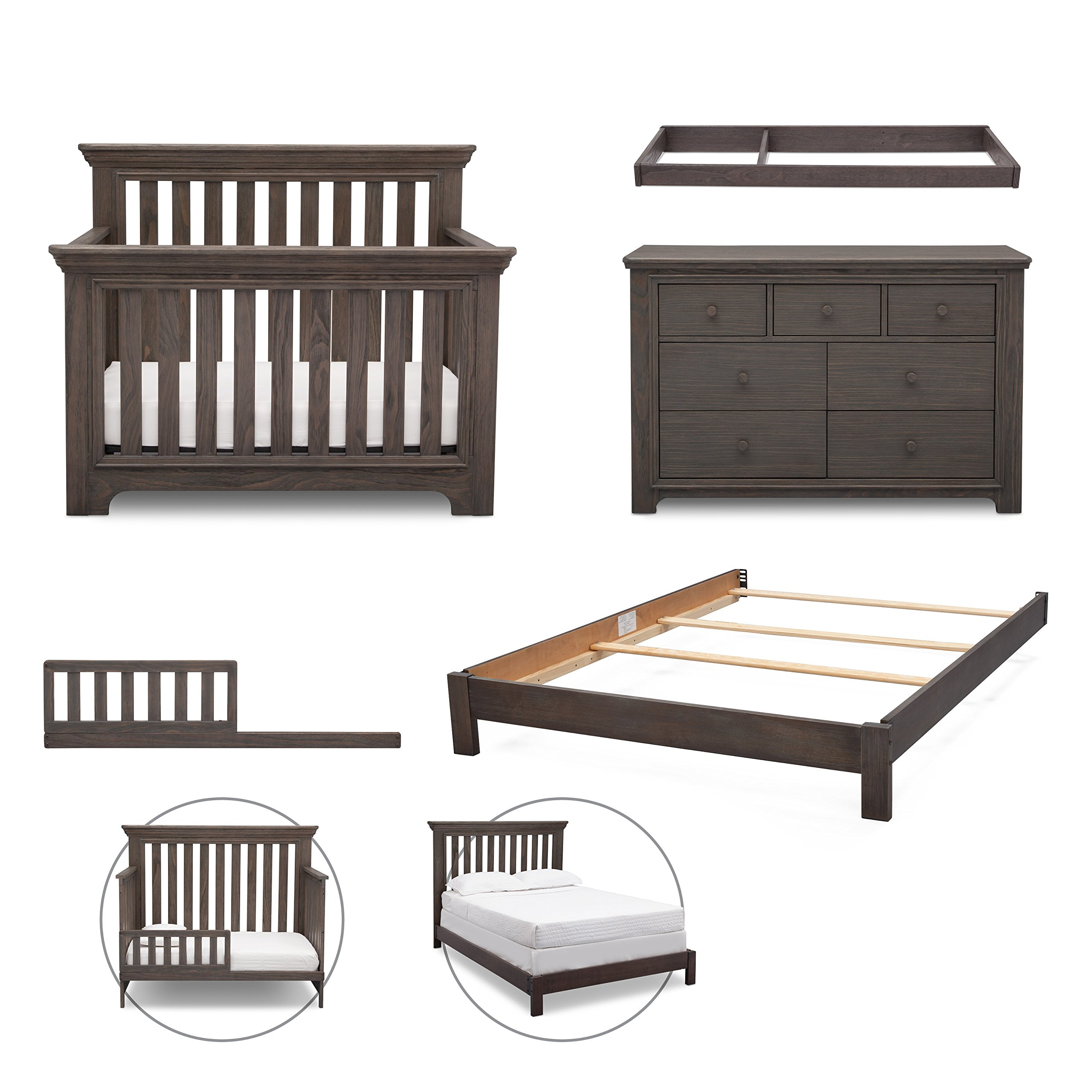 Simmons Kids Langley 5-Piece Nursery Furniture Set (Convertible Crib, Dresser, Changing Top, Toddler Guardrail, Full Size Conversion), Rustic Grey