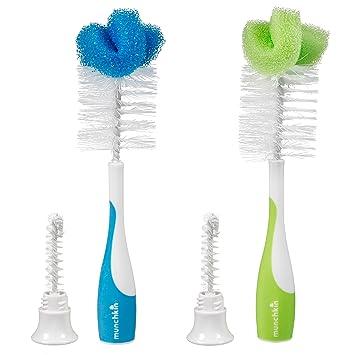 Munchkin Sponge 2-in-1 Bottle /& Nipple Cleaning Brush w// Durable Nylon Bristles
