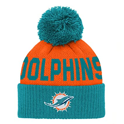 info for 7ea05 4ec17 Outerstuff NFL Miami Dolphins Jacquard Cuffed Knit Hat with Pom Aqua, Infant  One Size