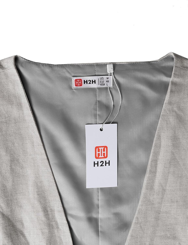 H2H Mens Formal Slim Fit Premium Business Dress Suit Button Down Vests #CJMV02