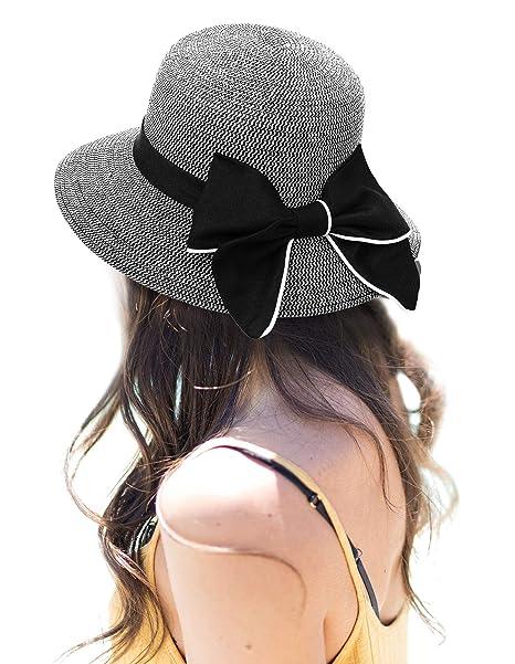 d29af35c AbbyLexi Women's Lovely Wide Brim Visor Straw Bucket Sun Hat w/Bow, Black  White