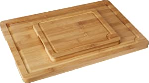 EatNeat Thick Bamboo Cutting Boards with Juice Grooves | Serving Trays with Carrying Handles | Extra Large 18x12 & Small 10x8