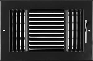 """10""""w X 6""""h 3-Way AIR Supply Grille - Vent Cover & Diffuser - Flat Stamped Face - Black [Outer Dimensions: 11.75""""w X 7.75""""h]"""
