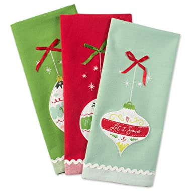 DII Cotton Christmas Holiday Dish Towels, 18x28  Set of 3, Decorative Oversized Embellished Kitchen Towels, Perfect Home and Kitchen Gift-Holiday Ornaments