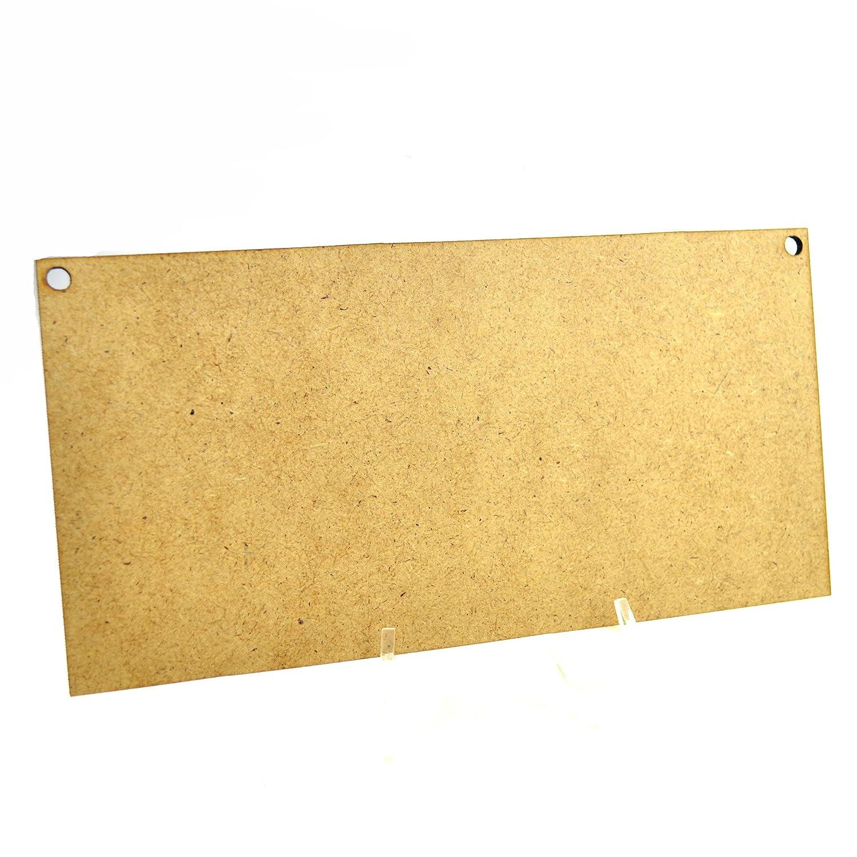 5 placas rectangulares de madera de 20 cm x 15 cm con 2 agujeros de madera MDF para manualidades en blanco decoraci/ón