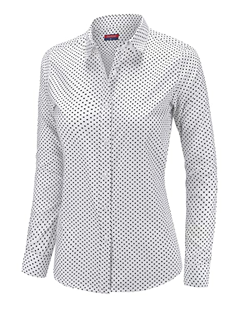 eddb8c2522fb3 Dioufond Women Polka Dot Shirt Autumn Long Sleeve Casual Button Down Cotton  Shirts at Amazon Women s Clothing store