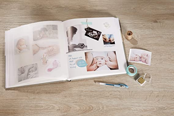 28x30.5/ Cover with Linen Texture White Photo Album 28/ x 30.5/ cm Walther Design UK Friis 207/ Baby Photo Album