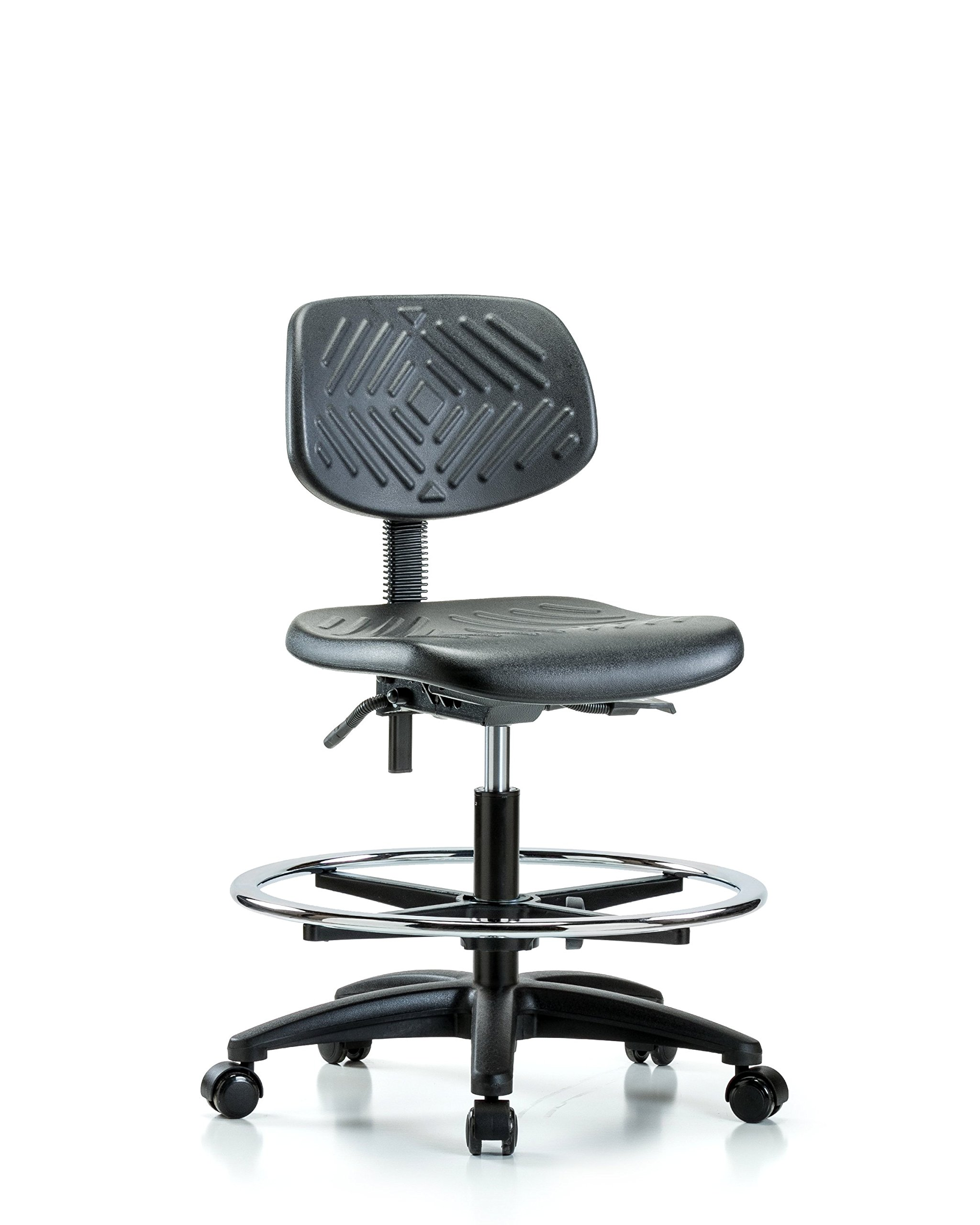 Heavy Duty Industrial Chair for Labs or Class Rooms with Chrome Foot Ring and Wheels - Bench Height