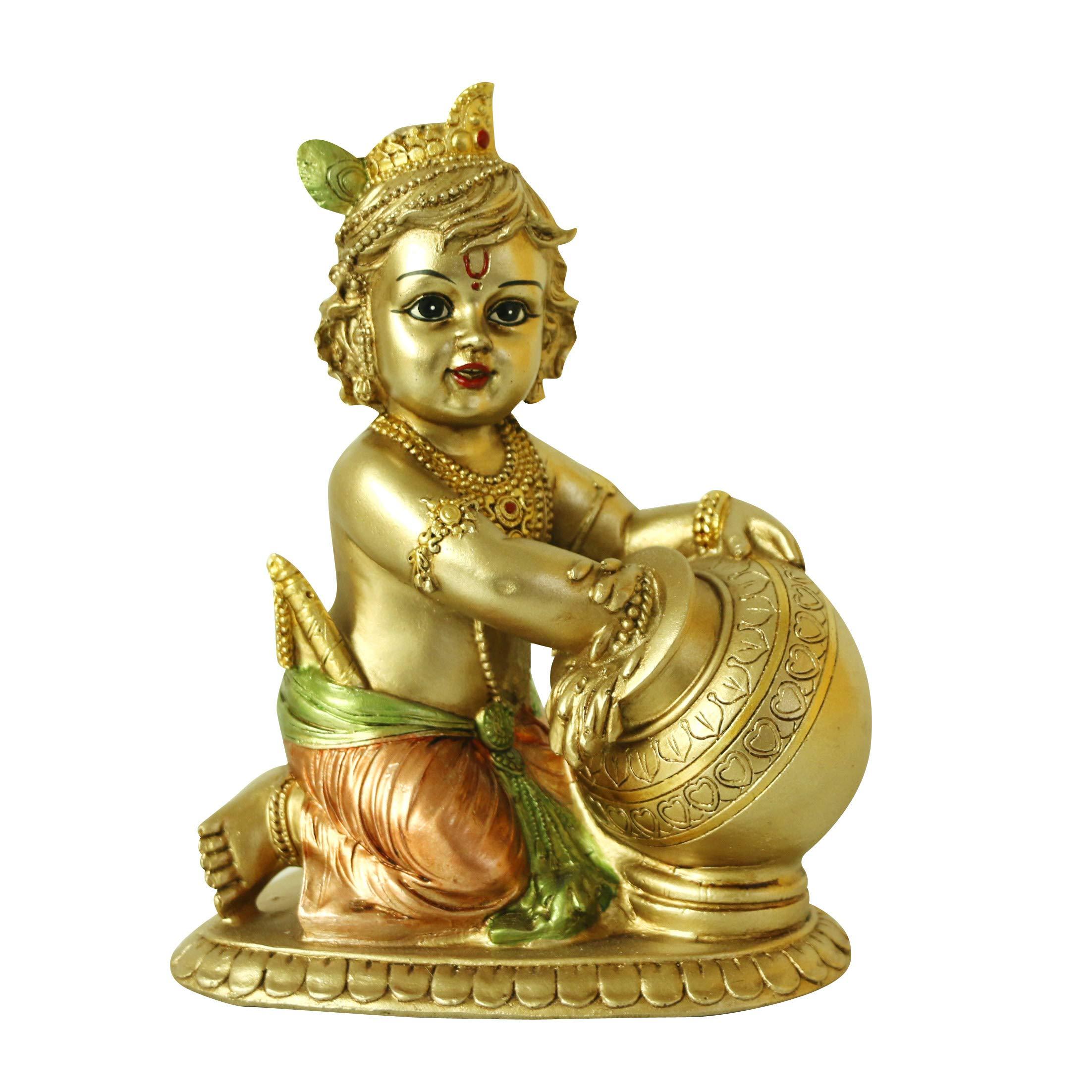 Hindu Lord Baby Krishna Statue – Indian Idol Krishna Figurines for Home Mandir Temple Pooja - India Murti Buddha Sculpture Religious Gifts Items