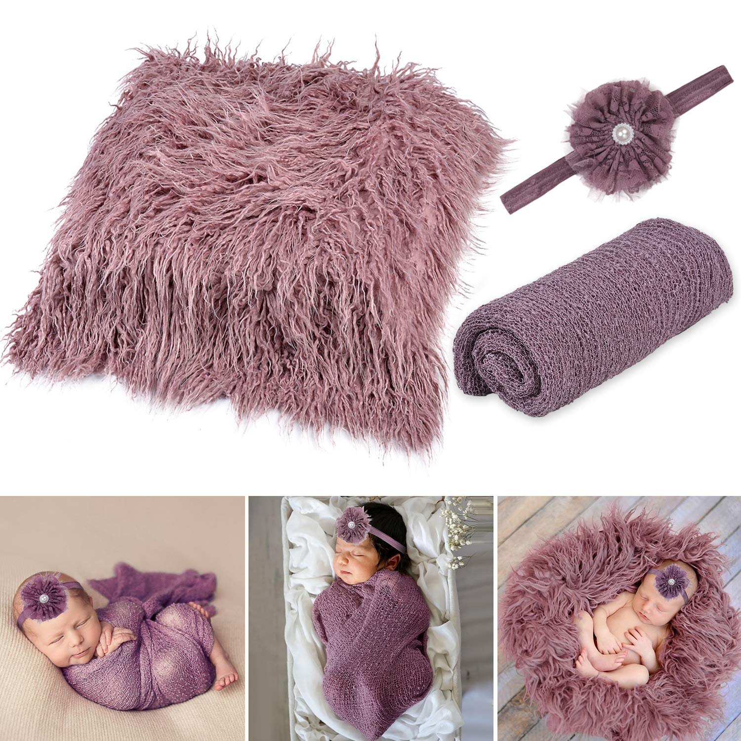 Baby Photo Props Newborn,Aniwon 3PCS Long Ripple Newborn Photography Wraps Blanket Swaddle Wrap Infant Outfits Soft Photography Mat Rug with Baby Headband for Baby Boys Girls