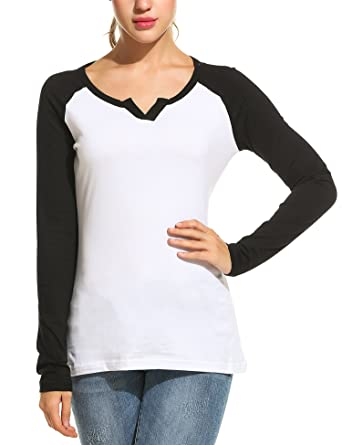 1a0e4f9ee4 Zeagoo Women's 3 4 Sleeve Cotton Loose Baseball Tee Top Raglan Shirt Black S