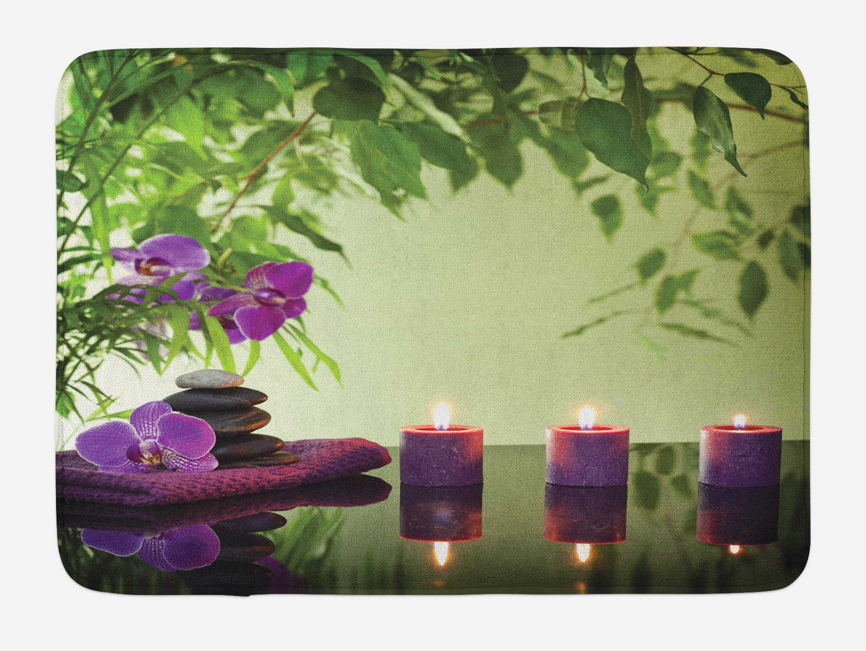 Ambesonne Spa Bath Mat, Zen Stones Aromatic Candles and Orchids Blooms Treatment Vacation, Plush Bathroom Decor Mat with Non Slip Backing, 29.5 W X 17.5 W Inches, Fern Green Purple Pale green