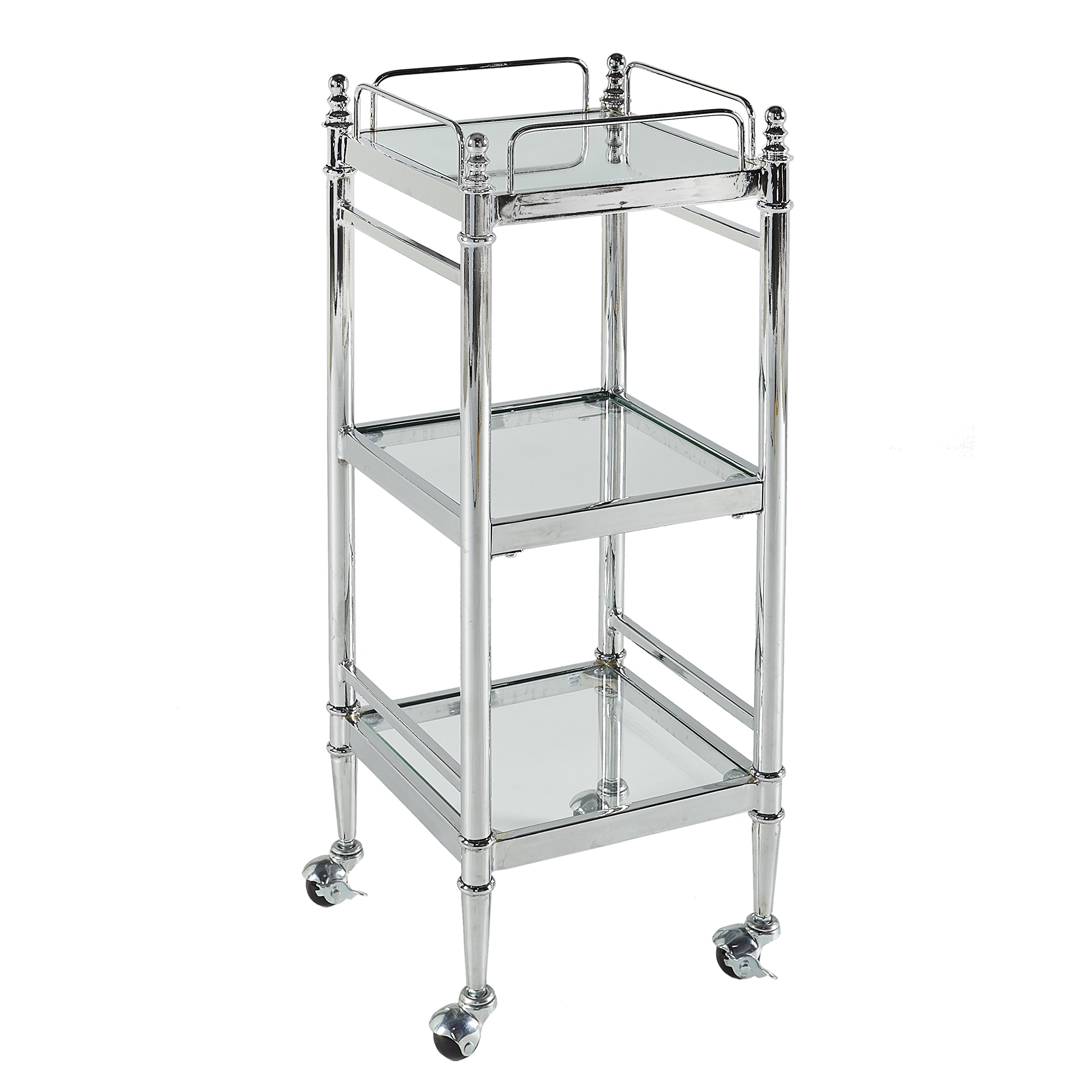 Linon Cart, Chrome by Linon