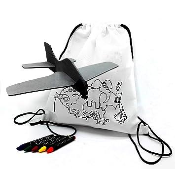Fun Fan Line® – Set de Mochilas Infantiles para Colorear + Aviones de Goma Eva. Packs, Fiestas y Juguetes de cumpleaños Infantiles ¡con Ceras de ...
