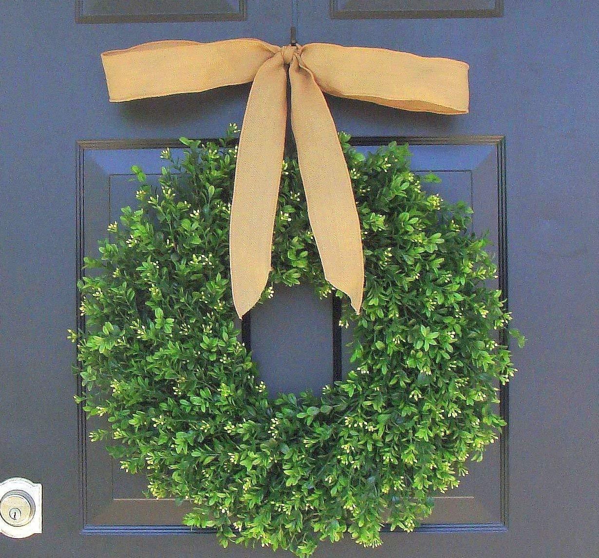 Amazon Com Elegant Holidays Handmade Thin Artificial Boxwood Wreath