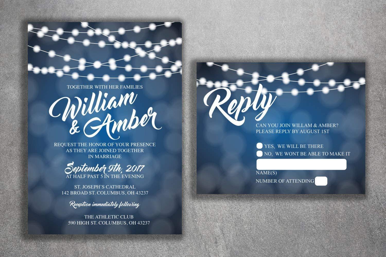Amazon Com Blue And White Lights Wedding Invitations Set Printed Cheap Wedding Invitation Affordable Wedding Invites Lights Sparkly Elegant Rsvp Handmade