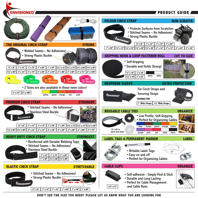 Velour Cinch Straps 1 x 20-10 Pack Soft Touch Microfiber Reusable Hook and Loop Plus 2 Free Bonus Reusable Cable Ties