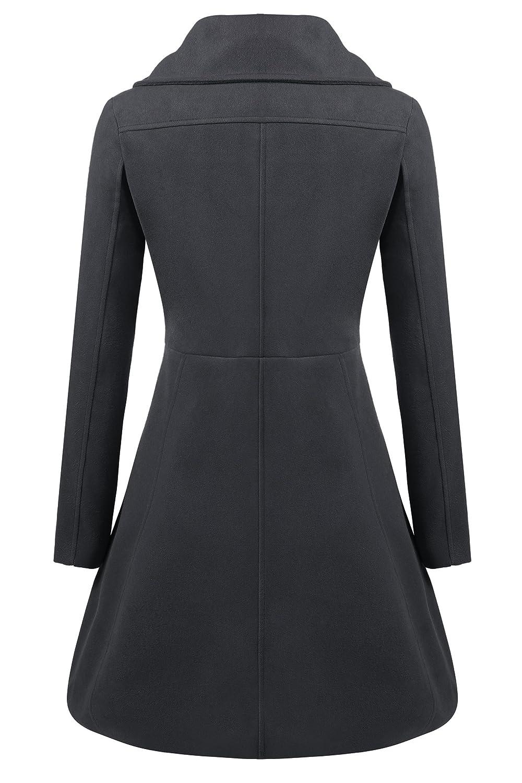 26cb7f9943a00 Amazon.com  Zeagoo Women Lapel Single Breasted Wool Overcoat Long Swing Coat  Jacket  Clothing