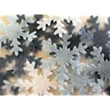 Snowflake Cake Decorations Edible Wafer - Christmas Cake Decorations x 40 - Silver and White Mix