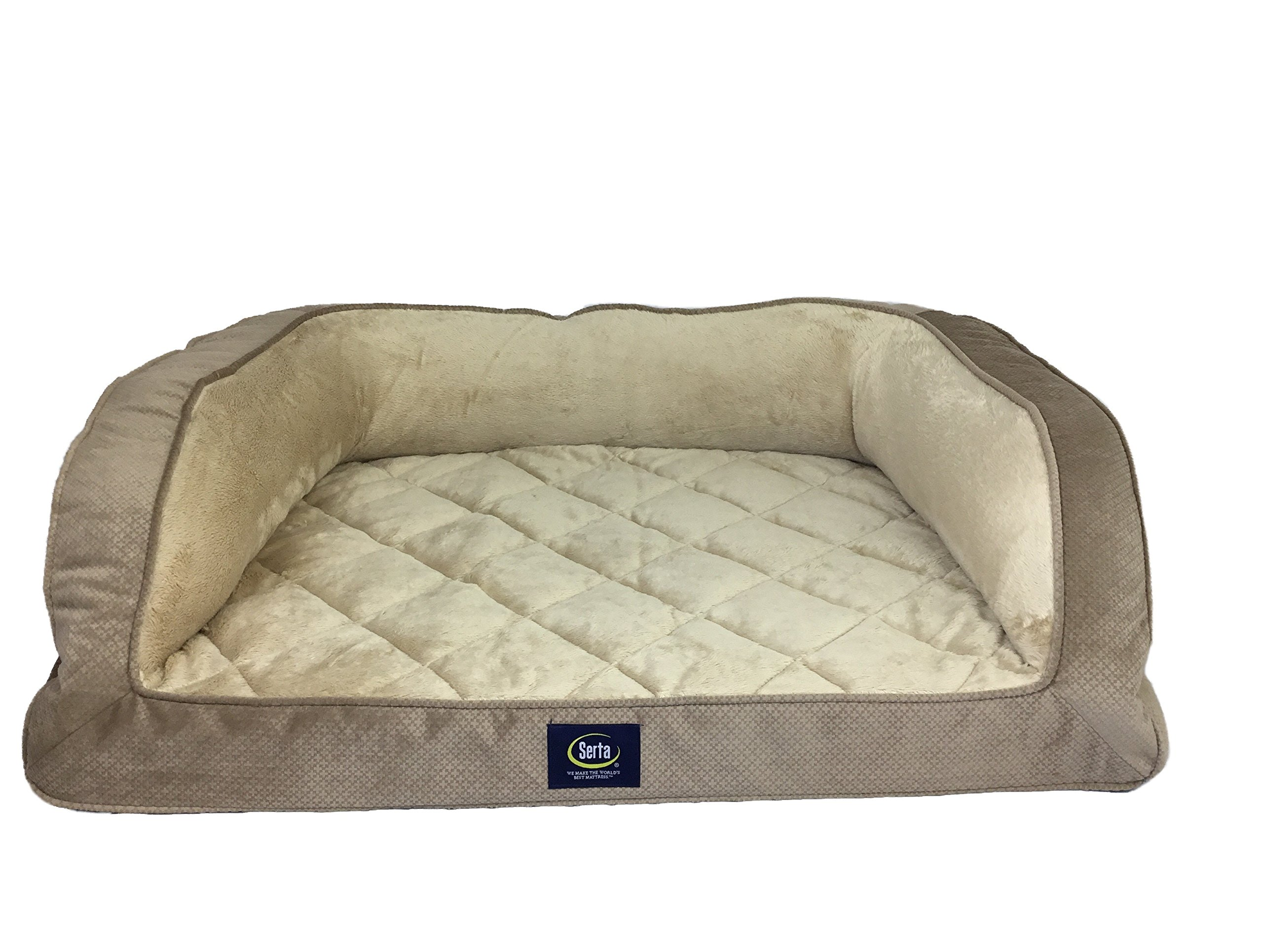 Serta Orthopedic Quilted Couch Tan Large