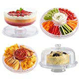 VonShef Multi-Function 30cm Cake Stand with Dome Lid / Chip & Dip Platter / Punch Bowl / Salad Bowl - Ideal for Parties.