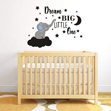 Amazon Com Dream Big Little One Elephant Wall Decal Quote Wall Stickers Baby Room Wall Decor Vinyl Wall Decals For Children Baby Kids Boy Girl Bedroom Nursery Decor Y42 Bule Black Boy Home Kitchen