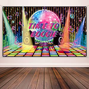 70s Theme Party Decorations Disco Backdrop Banner 70's Photo Booth Backdrop Wall Decorating for Disco Birthday Party Supplies, 72.8 x 43.3 Inch