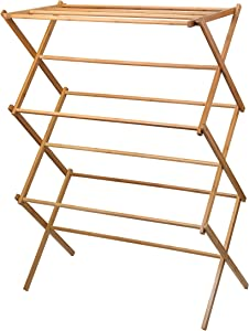 Home-it clothes drying rack - Bamboo Wooden clothes rack- heavy duty cloth drying stand