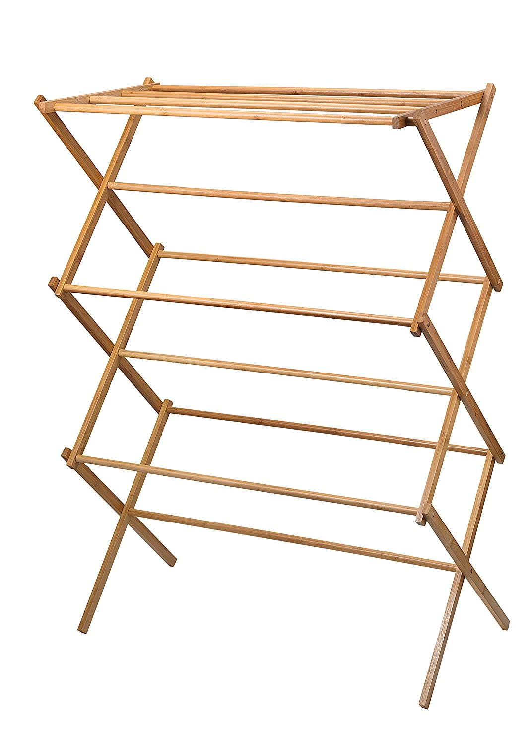 Amazoncom Home It Clothes Drying Rack Bamboo Wooden Clothes Rack
