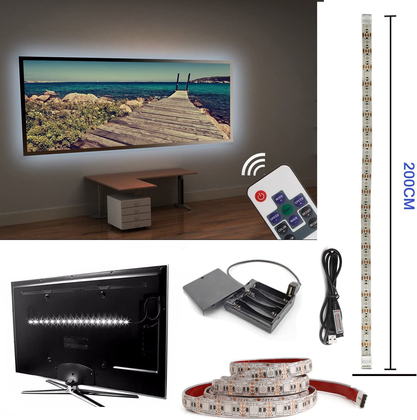 Televisor LED TV Fondo, 200 cm usb led iluminación de fondo para monitor de pantalla de TV y PC, RGB LED Strip con batería de caja: Amazon.es: Iluminación